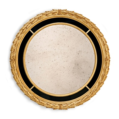 Round mirror frame with laurel leaves and black glass passepartout