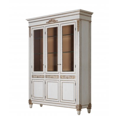 3 Doors Display Cabinet with Extraclear Glass Shelves