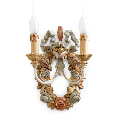 2 lights sconce with flowers garland