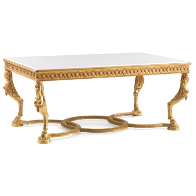 Rectangular coffee table caryatidis