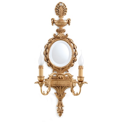 2 lghts sconce with round mirror