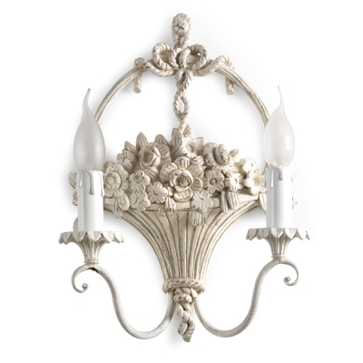 2 lights sconce with flowers basket