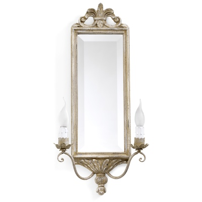 2 lights sconce with rectangular mirror