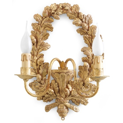 2 lights sconce garland oak leaves