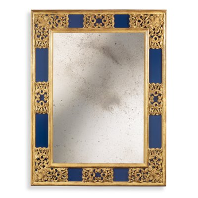 Mirror frame with colored side glasses